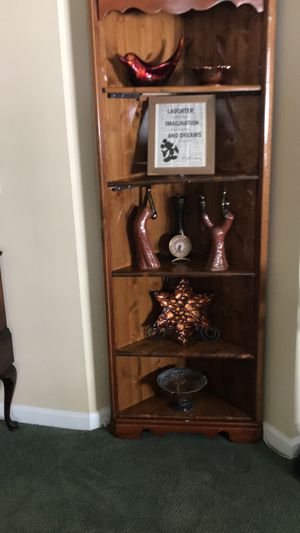 Wooden Corner Display Case for Sale in Brick Township, NJ