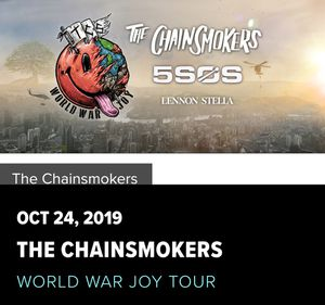 2 tickets THE CHAINSMOKERS WORLD WAR JOY TOUR for Sale in Miami Beach, FL