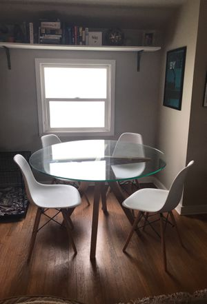 Cb2 wooden table + amazon chairs for Sale in Seattle, WA