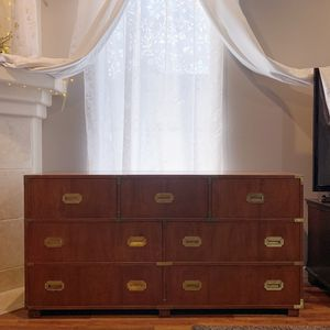 MCM Mid Century Baker Furniture Campaign Style 7 Drawers Chest Dresser for Sale in Hillsboro, OR