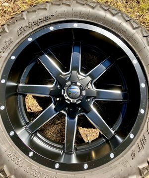 """FUEL MAVERICK D610 22"""" WHEELS and AMP Terrain Attack AT A/T G TIRES (Pair) for Sale in Monroe, WA"""