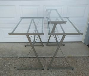2 (two) metal glasstop desks. for Sale in Flower Mound, TX