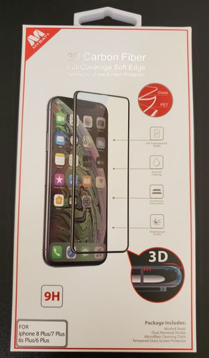 iPhone 6 7 8 Plus 3D Carbon Fiber Tempered glass screen protector for Sale in Mesa, AZ