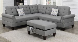 *** free assembly *** 3pcs reversible sectional w/ottoman - available in Grey & Beige 🔅 free delivery with in 100 miles ... 675$🔅 for Sale in Lomita, CA