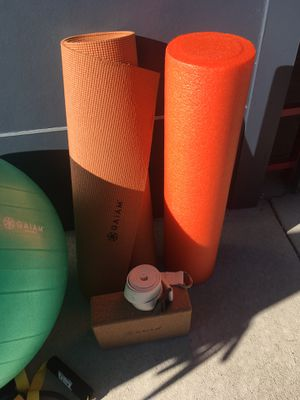 Yoga mat, block, straps and ball plus roller for Sale in Denver, CO