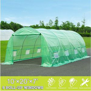 20x10x7 Large Portable Greenhouse Tent Tunnel for Gardening Plant House, Green for Sale in ROWLAND HGHTS, CA