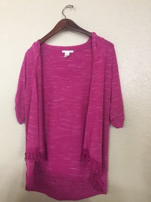 Cardigan sweater 3/4 sleeves with fringe at bottom great condition for Sale in Portland, OR