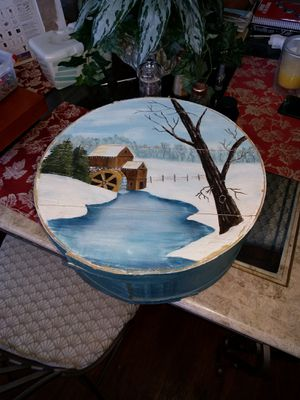 Painted cheese wheel container. for Sale in Lakeland, FL