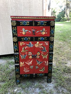 Hand painted red Asian art cabinet. for Sale in Encinitas, CA