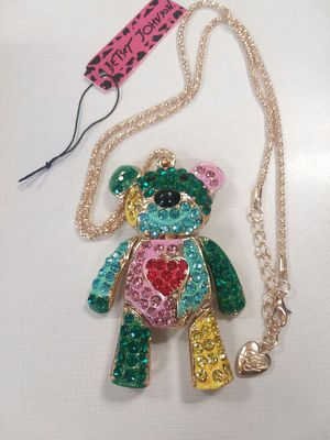 Beautiful TEDDY BEAR Pendant Necklace with Crystals Movable Body on a Long Gold Color Chain by Betsey Johnson for Sale in The Bronx, NY