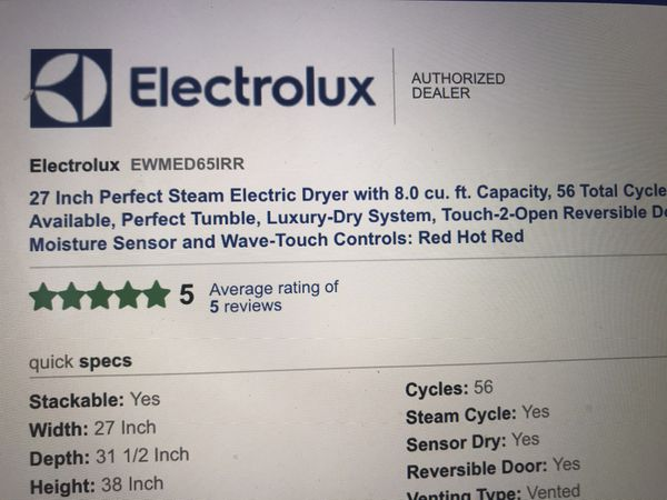 Electrolux Washer with matching dryer. Location pick up: Montana