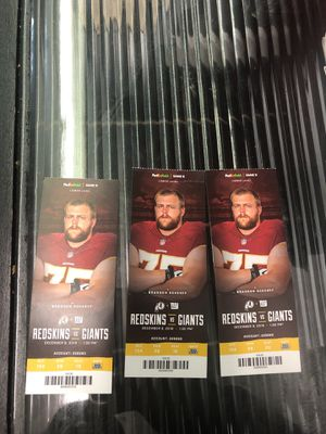 3 tickets to the Redskins vs. Giants 12/9/18 for Sale in Chillum, MD