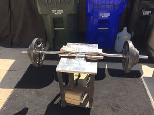 85 LBS PLUS 35 LBS CHROME SOLID CURL BAR ! for Sale in Ontario, CA
