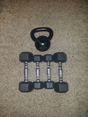 Chrome dumbbells with rubber. pair of 5s and 10s. 15lb iron kettle bell. for Sale in Deerfield Beach, FL