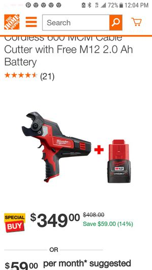Milwaukee m12 cable cutter with battery and charger for Sale in San Jose, CA