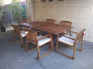 Outdoor patio wood table and 6 chairs for Sale in Los Angeles, CA