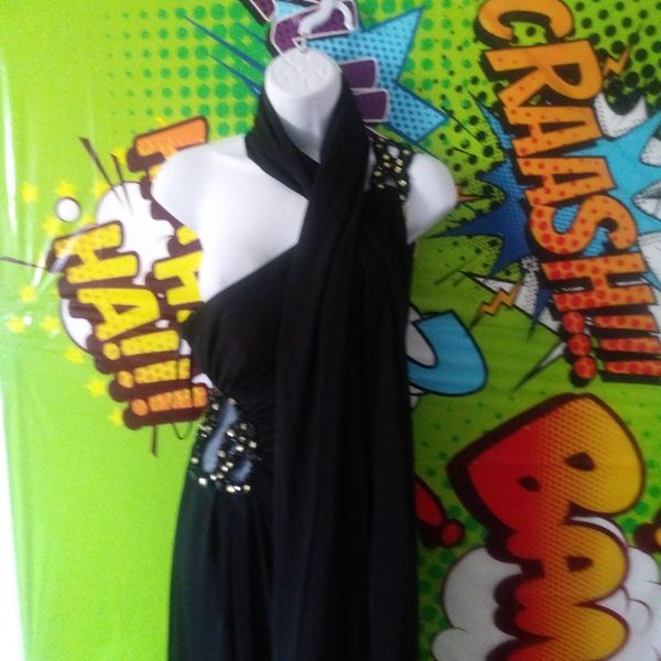 Long Black Dress Small With Scarf