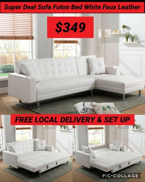 Super Deal Sofa Futon Bed White Leather Only 2 Availables $449 for Sale in San Bernardino, CA