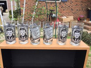 Set of 6 president JFK Collectable glasses for Sale in Durham, NC