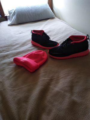 Nike high top Roshes size 11,florescent pink, men's and matching color adidas hat for Sale in Boston, MA