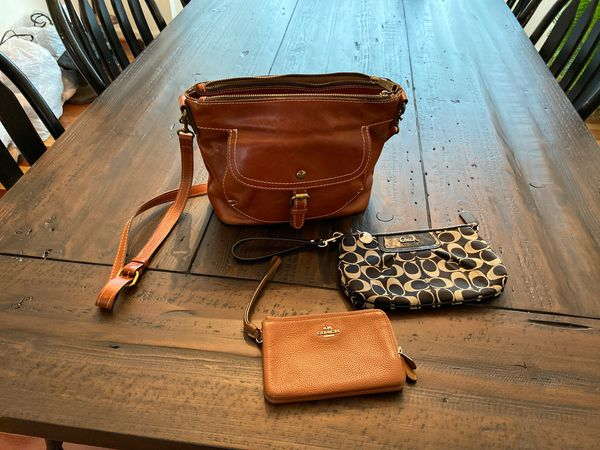 Patricia Nash cross body all leather purse, two Coach Wristlets included.