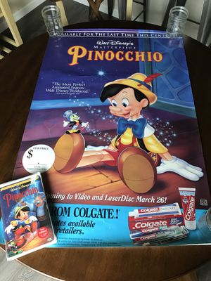 Pinocchio Walt Disney movie and poster unopened for Sale in Vancouver, WA