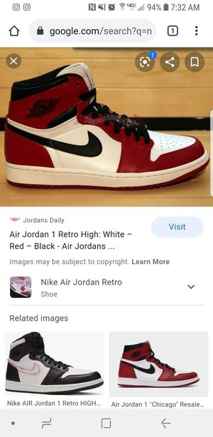 Nike air jordan 1 retro high size 12 red and black with white cement design on side for Sale in Riverside, CA