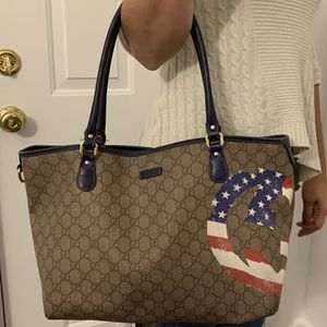 Gucci Beige/Blue GG Coated Canvas American Flag Joy Tote Bag handbag for Sale in Vancouver, WA