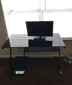 Black glass computer/tv/gaming desk for Sale in Winston-Salem, NC