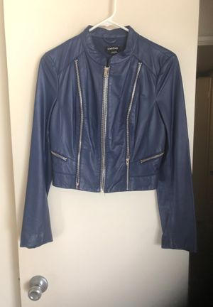 Bebe leather jacket blue size small for Sale in Silver Spring, MD