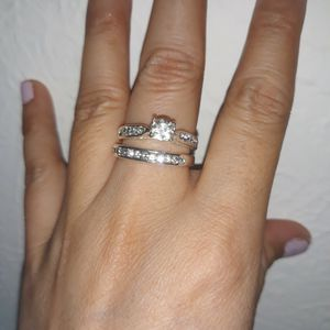 Set 2 Piece 925 Sterling Silver Engagement Wedding Ring, Size 8. for Sale in Dallas, TX