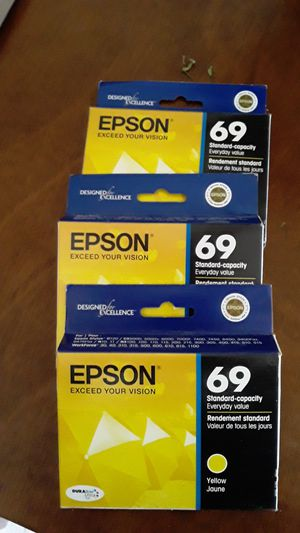 Epson 69 standard capacity yellow three boxes asking $15 for all for Sale in San Leandro, CA