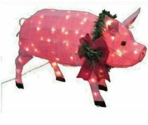 Large pre-lit lighted Christmas yard decor Pig holiday Xmas for Sale in Norwalk, CA