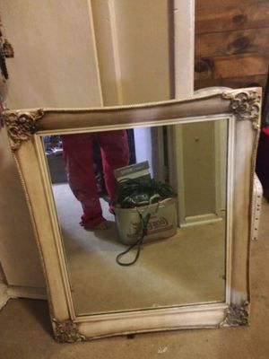Antique 24x18 White Wash Wood Framed Mirror??, destressed Classical Italian Floral scolling Deaign in thecorners and a antiqur glaze patina finish for Sale in Long Beach, CA