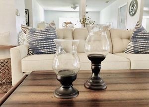 Dark Wood Hurricane Glass Candle Holders Farmhouse Rustic Home Decor for Sale in Pompano Beach, FL