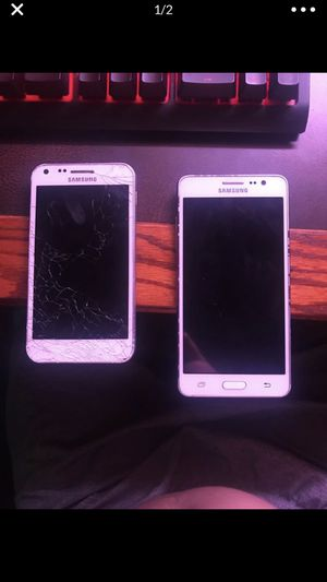 Samsung phones the cracked one needs a new battery and a back the other one you have to take it to a store in bypass the Google lock but they both wo for Sale in Port St. Lucie, FL
