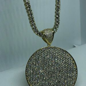 Gold Plated CZ Charm Pendant with Chain for Sale in Sugar Land, TX
