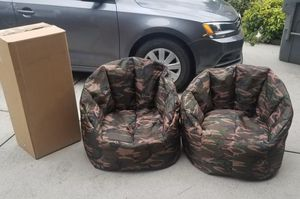 Big Joe Camo Beanbag Chairs Lot of 2 with a box full of filling for Sale in Charlotte, NC