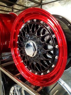 Black with red lip wheels 15x7 4x100 4x114 et20 fits civic miata 4 lug vw wheel rim tire shop for Sale in Tempe, AZ