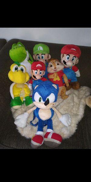 7 Backpacks mario bros, sonic, alvin,Luigi for Sale in Los Angeles, CA