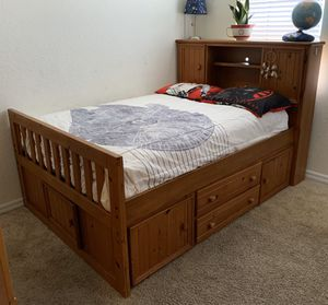 Full size captains bed with drawers and two book shelves for Sale in Naples, FL
