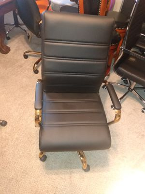 Brand New Black leather office chair with gold trimming for Sale in Jonesboro, GA