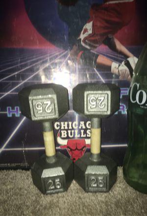 Cast Iron 25lb dumbbells for Sale in Grand Prairie, TX