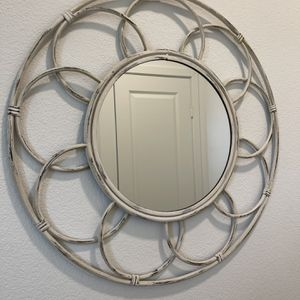 Distressed cream Round Metal Boho Wall Mirror. New for Sale in San Diego, CA