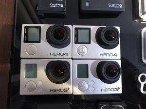 GoPro mega pack 2x hero black plus , hero 4 black , here 4 silver for Sale in Los Angeles, CA