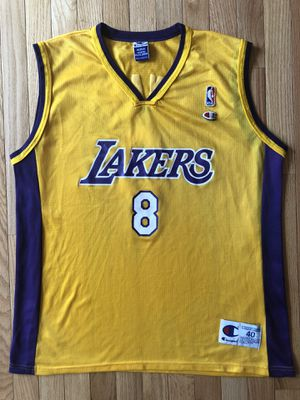 Used Authentic Kobe Bryant Champion Los Angeles Lakers Gold Jersey Size 40 Medium for Sale in Lanham, MD