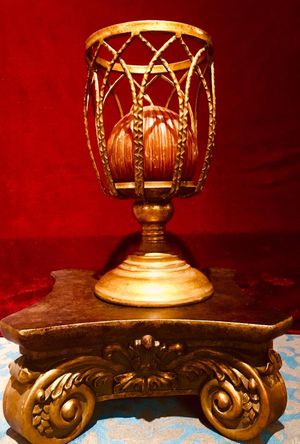 Beautiful bronze cast art candle holder; elegant, vintage style item in excellent condition H10.5x6 inch; candle & base not included for Sale in Chandler, AZ