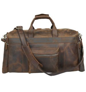 Polare 20'' Full Grain Cowhide Leather Weekender Duffle Bag Overnight Luggage Travel Duffel Bag For Men for Sale in Los Angeles, CA