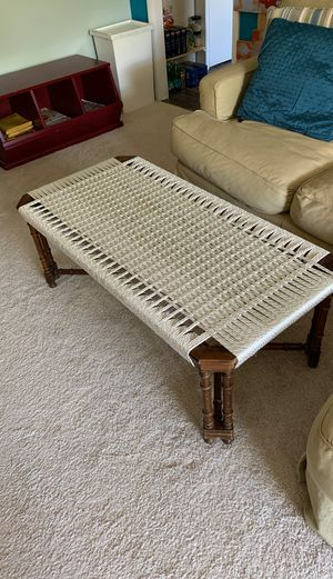 Coffee table with handwoven macrame top. for Sale in Potomac, MD