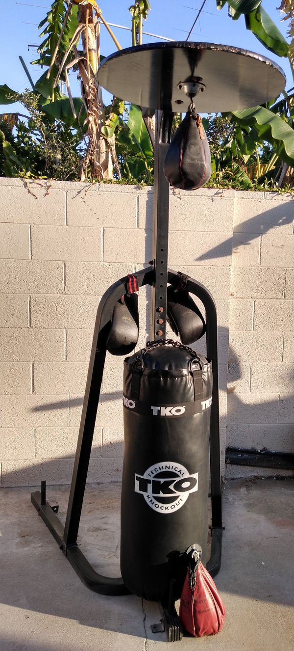 Punching bag stand with speed bag attachment